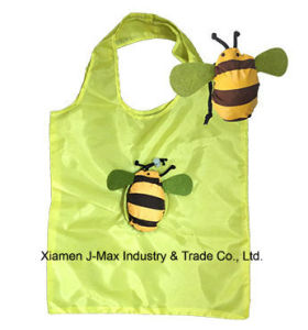 Foldable Lightweight Grocery Bags Handy Shopping Bag with 3D Pouch Bee Style pictures & photos