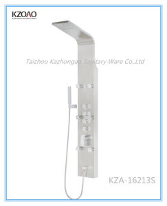 Kza-16213s Silver Brushed Stainless Steel Shower Panel with Waterfall pictures & photos
