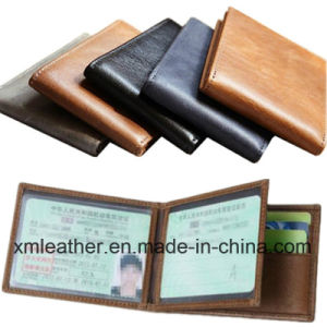 Genuine Leather Slim Wallets Black ID Credit Card Holder pictures & photos