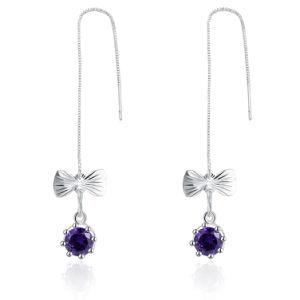 Butterfly Purple Zircon Silver Plated Women Earrings pictures & photos