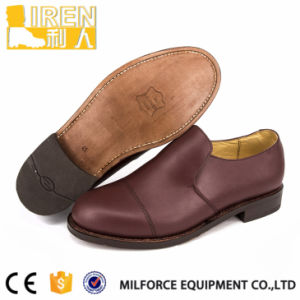 Red Brown Genuine Leather Mens Military Police Office Shoes pictures & photos