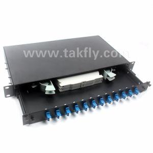 "19"" 1u Sliding Type 12 Port LC Duplex Fiber Optic Patch Panel pictures & photos"