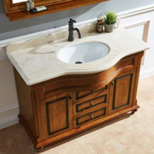 Wholesale Oak Wood Bathroom Cabinet Vanity Sink Unit (GSP14-035) pictures & photos