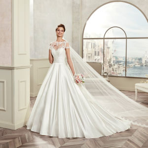 Elegant Short Sleeve Lace Appliques A-Line Satin Wedding Dress 2017