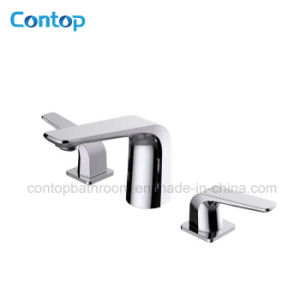 New Style Washingroom Products Double Handle 3 Hole Black Matt Basin Mixer pictures & photos