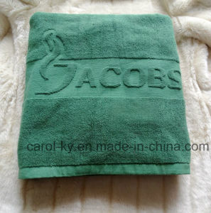 Color Coton Embossed Woven Jacquard Logo Bath Towel pictures & photos