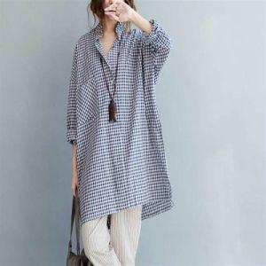 New Fashion Plus Size Women Long Plaid Blouses Shirts pictures & photos