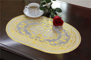 30*46cm Lace Gold PVC Tablemat Factory Wholesale pictures & photos