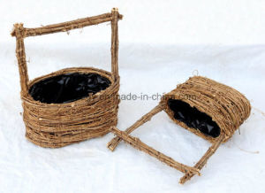 2017 Manufacturer Yellow Rattan Flower Basket for Home and Garden Decoration