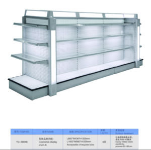 Double Side Supermarket Cosmetic Display Glass Shelf with LED Light Box pictures & photos