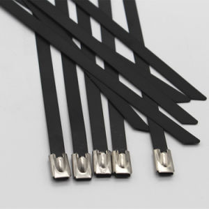Black Stainless Steel Cable Zip Ties for Exhaust Wrap pictures & photos