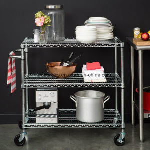 Multi-Functional Chrome Steel Wire Kitchen Trolley with Basket for Hotel pictures & photos