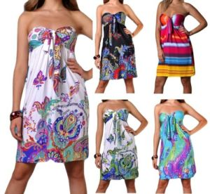 Ladies Sexy Short Floral Summer Strapless Beach Abaya/Kaftan (A978) pictures & photos