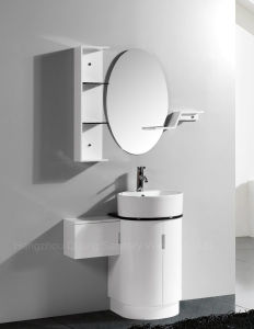 Round PVC Bathroom Cabinet with Shelf and Side Vanity pictures & photos