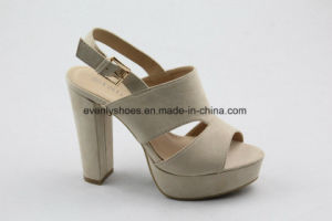 New Design Block Heel Fabric Upper High Heel Lady Sandal pictures & photos
