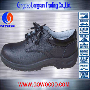 Hot-Sale Embossed Leather Fashion Safety Shoes/Footwear (GWPU-1015)