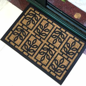 Rubberized Anti Slip Non Skid Woven Panama Nature Fiber Emboss Mould Engraved Rubber Back/Backed/Backing Non Slip Coco Coir Coconut Fiber Doormats pictures & photos