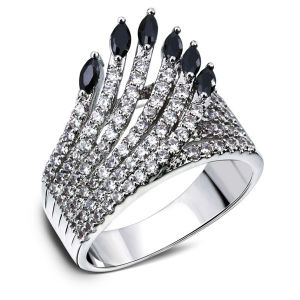 Hollow Design Cubic Zircon Indians Feather Women CZ Ring pictures & photos