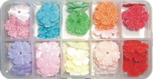 10 Colors Fuzzy Flowers in Clear Handy Box (OB21)