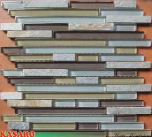 Strip Crystal Tile Mix Stone Mosaic Pattern Interior Wall Tile (KSL6616)