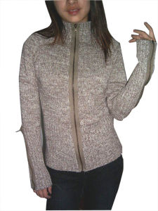 Women Knitted Zipper Cardigan Sweater