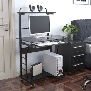 Home Office Mobile Computer Desk with Glass Tabletop pictures & photos