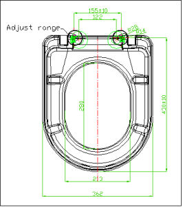 Two Piece Floor Mounted Toilet Seat with Soft Close Hinge pictures & photos