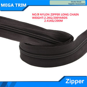 No. 5 Black Nylon Zipper Long Chain pictures & photos