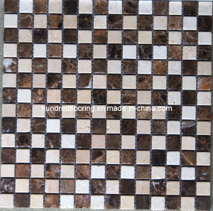 Cream Marfil and Dark Emperador Marble Mosaic Tile (HSM119) pictures & photos