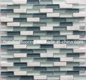 Linear Glass Stone Blend Mosaic Tile (HGM262) pictures & photos