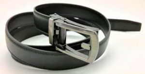 The Leather Emporium Mens Designer Black Leather Belt with Automatic Buckle