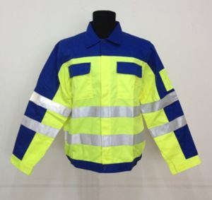 2013 Latest Style Workwear with Reflective Tape, Fluorescein and Navy Popular T/C Work Shirt