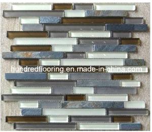 Strip Stone Mix Glass Mosaic Kitchen Backsplash Tile (HGM275) pictures & photos