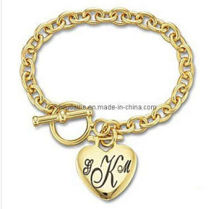 Alloy Gold Hear Charm Message Bracelet (ALBA-1171)