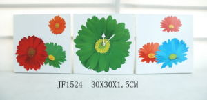 MDF Wooden Flower Wall Art Clock Set (JF1524) pictures & photos