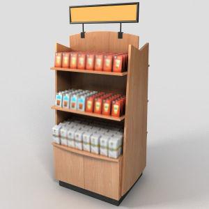 Best Seller Supermarket Coffee Display with Wood