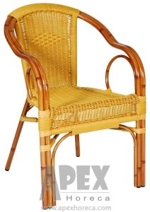 Round Wicker Rattan Chair Outdoor Furniture Aluminum Arm Chair (AS1094BR) pictures & photos