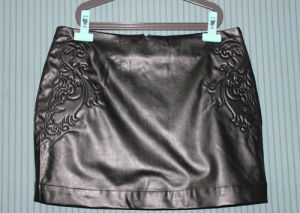 Ladies A-Line PU Skirt with Embroidery (LDS-24)