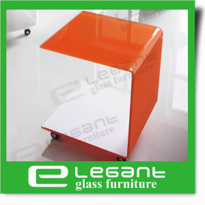 Orange Color Curved Glass End Table with Wheels pictures & photos