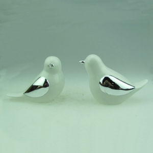White Glaze and Electroplate Ceramic Bird (Home Decoration) pictures & photos