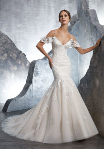 Cap Sleeves Bridal Dresses Mermaid Lace Appliqued Wedding Gown Lb5601 pictures & photos