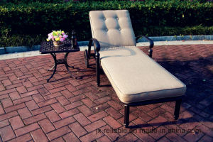 Garden Lawn Cast Alumnim Chaise Sun Lounge Furniture with Wheels Side Tea Table pictures & photos