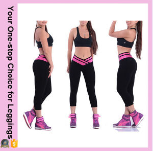 Women New Designs Overlap Waist Capri Cropped Skinny Yoga Pants pictures & photos