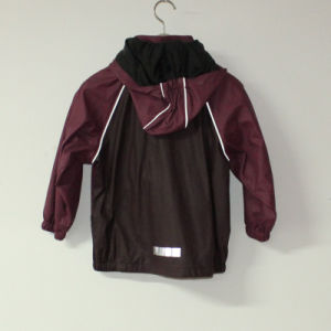 Dark Wine PU Reflective Rain Jacket for Children/Baby pictures & photos