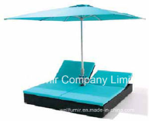 Patio Double Rattan Sun Lounger with Unbrella, Blue Cushion, Garden Furniture, Wicker Chaise Lounge, pictures & photos