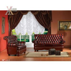 Antique Style Leather Sofa Set (S6)