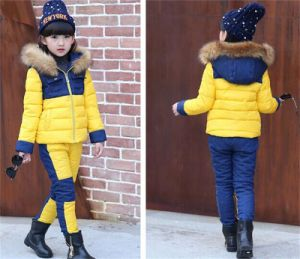 2015 Children′s Winter Coat Suit/ Girls New Two Piece Cotton Suit /Girls′ Fashion Various Colors Hoody Outwear Kd7112 pictures & photos