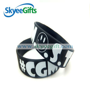 Silicone Black Letters Debossed Wristband for Promotional Gift pictures & photos