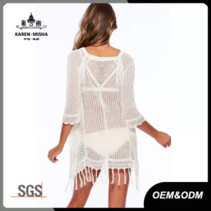 Sexy Girl Beach Wear with Lace Cuffs and Fringe Hem pictures & photos
