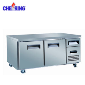 2 Door Commercial Stainless Steel Freezer Workbench Refrigerator with Ce Certificate pictures & photos